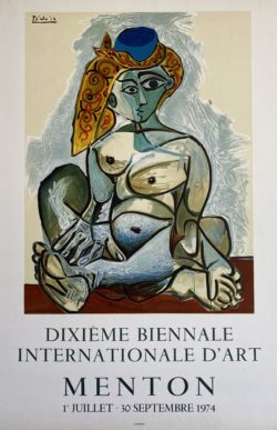 Affiche originale Picasso Dixieme biennale internationale d'art menton 1974